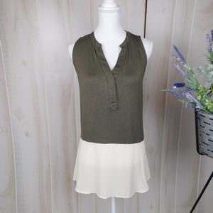 Sunday in Brooklyn Green and Cream Tunic Blouse